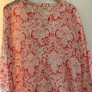 Small Red & White Blouse